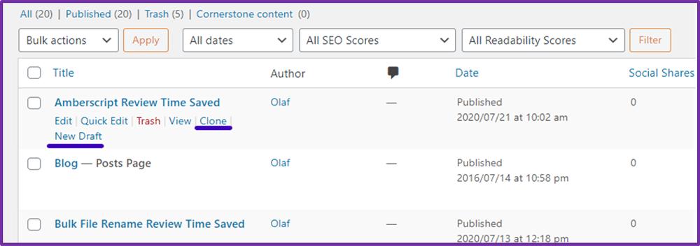 Duplicate Post Plugin Screenshot 1